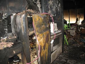 fire damaged kitchen before